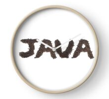 Java word made out of coffee beans Clock