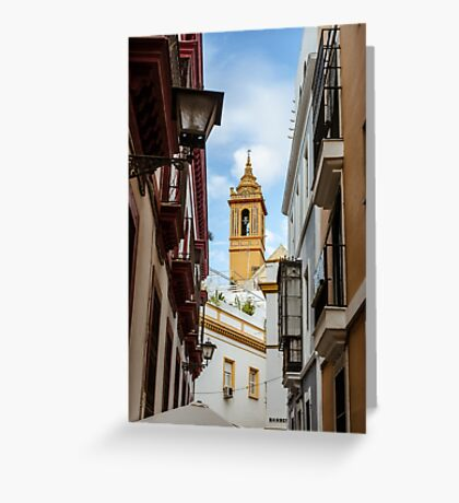 Streets of Seville - Looking at the sky  Greeting Card