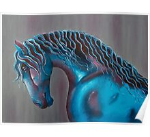 Abstract Oil on Canvas Horse Poster