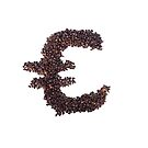 Euro symbol made out of coffee beans by stuwdamdorp