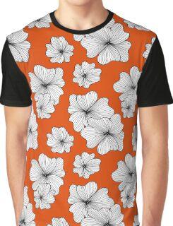 flowers on orange background Graphic T-Shirt
