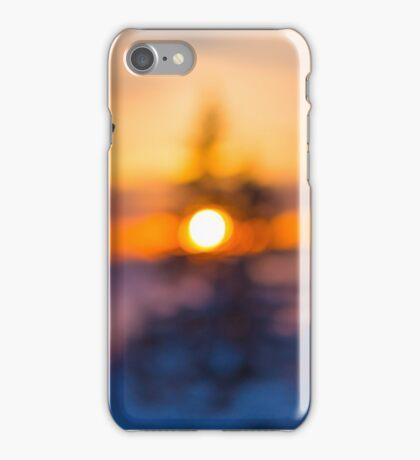 Skis on Sunset Background iPhone Case/Skin