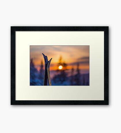 Skis on Sunset Background Framed Print