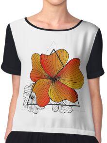 orange flowers in triangle Chiffon Top