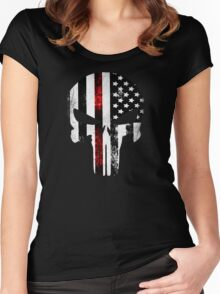 Punisher Red Line  Women's Fitted Scoop T-Shirt