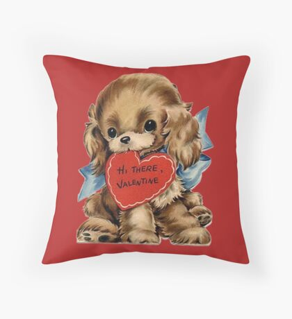 Vintage Valentine's Day Puppy Throw Pillow