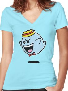 Super Cereal Ghost Women's Fitted V-Neck T-Shirt