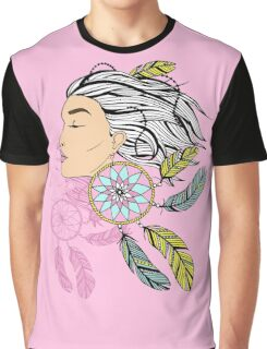 girl with a earring in boho style. sketch. Graphic T-Shirt