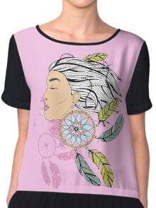 girl with a earring in boho style. sketch. Chiffon Top