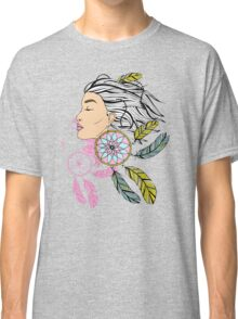 girl with a earring in boho style. sketch. Classic T-Shirt