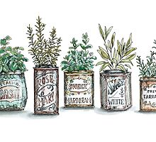 Herbs in Vintage Tins by StrangePersimon