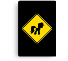 Pony Traffic Sign - Diamond Canvas Print