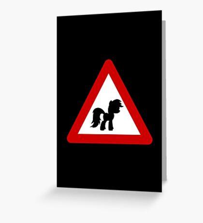 Pony Traffic Sign - Triangular Greeting Card