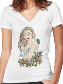 the girl in flowers with a butterfly on a shoulder Women's Fitted V-Neck T-Shirt