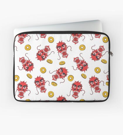 doodle pattern. Chinese dragon and coins Laptop Sleeve