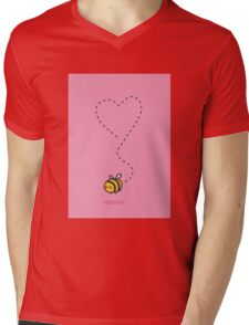 Bee Heart - Pink Mens V-Neck T-Shirt
