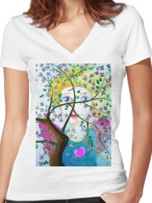 There's an angel behind the blooming tree Women's Fitted V-Neck T-Shirt