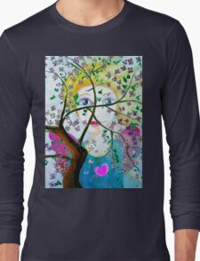 There's an angel behind the blooming tree Long Sleeve T-Shirt