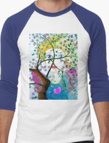 There's an angel behind the blooming tree Men's Baseball ¾ T-Shirt