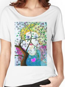 There's an angel behind the blooming tree Women's Relaxed Fit T-Shirt