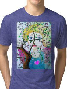 There's an angel behind the blooming tree Tri-blend T-Shirt