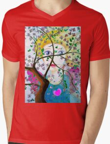 There's an angel behind the blooming tree Mens V-Neck T-Shirt