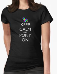 Keep Calm and Pony On - Black Womens Fitted T-Shirt