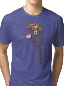 the stylized girl's silhouette with flowers in hair and a braid Tri-blend T-Shirt