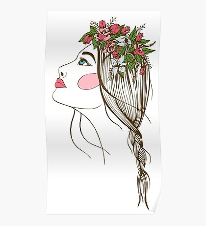 the stylized girl's silhouette with flowers in hair and a braid Poster