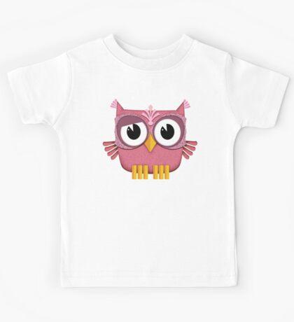 Cute Pink Owl  Kids Tee
