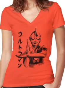 Waterbrushed Hero Robot Women's Fitted V-Neck T-Shirt