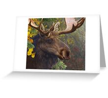 bull moose portrait amid aspen and spruce Greeting Card