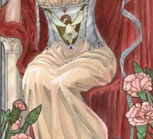 Veiled Lady of January with Pink Carnations and Snowdrop Birth Flower Corset Mucha Inspired Birthstone Series Sticker