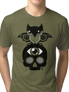 Monster by MUCK. Crypto Zoo. Demon Owl Tri-blend T-Shirt
