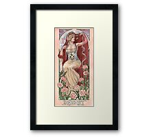 Veiled Lady of January with Pink Carnations and Snowdrop Birth Flower Corset Mucha Inspired Birthstone Series Framed Print