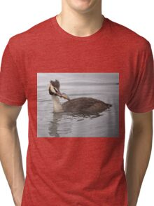 Great Crested Grebe with Perch Tri-blend T-Shirt