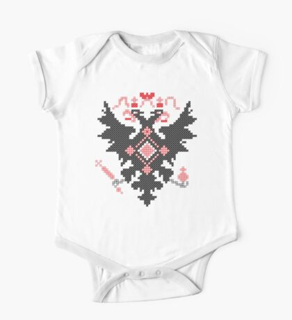 Cross-stitch heraldic RUSSIAN IMPERIAL TWO-HEADED EAGLE One Piece - Short Sleeve