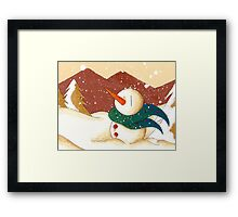 Snow by the Mountains Framed Print