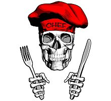 Chef Skull: Knife and Fork 4 Photographic Print