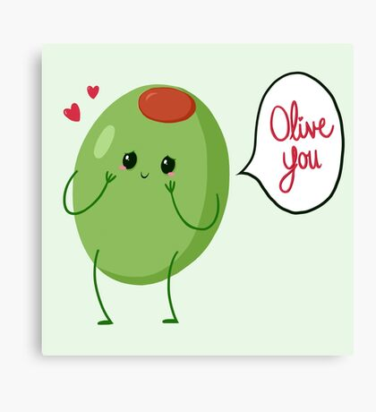 Olive you! #digistickie Canvas Print