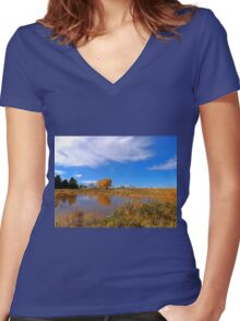 Forest Beach Migratory Preserve Pond Women's Fitted V-Neck T-Shirt