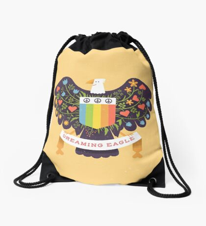 Dreaming (not Screaming) Eagle Drawstring Bag