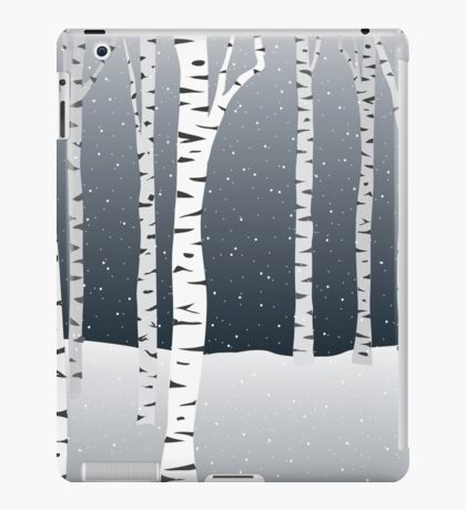 Birch Trees in Snow: night iPad Case/Skin