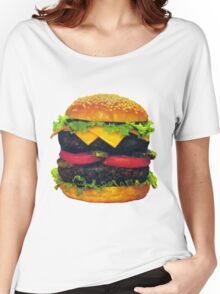 Double Deluxe Hamburger with Cheese Women's Relaxed Fit T-Shirt