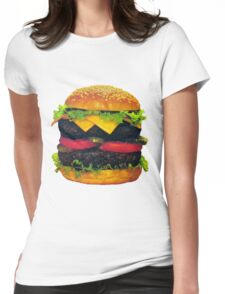 Double Deluxe Hamburger with Cheese Womens Fitted T-Shirt