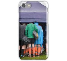 Football team hiding from the Scottish weather iPhone Case/Skin