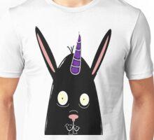 Two ears, one horn, hopping black unibunny Unisex T-Shirt