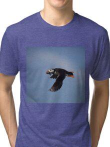 Atlantic Puffin in flight Tri-blend T-Shirt