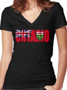 Ontario Flag Women's Fitted V-Neck T-Shirt