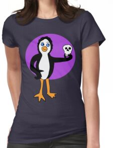 Penguin Holding a Skull  Womens Fitted T-Shirt